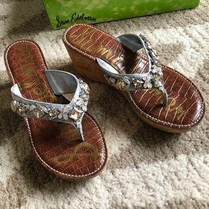 Sam Edelman Jeweled Wedge Sandal Silver- 7.5